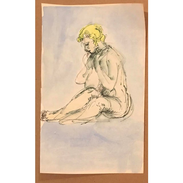 Figurative Seated Female Nude Watercolor 1970s For Sale - Image 3 of 4
