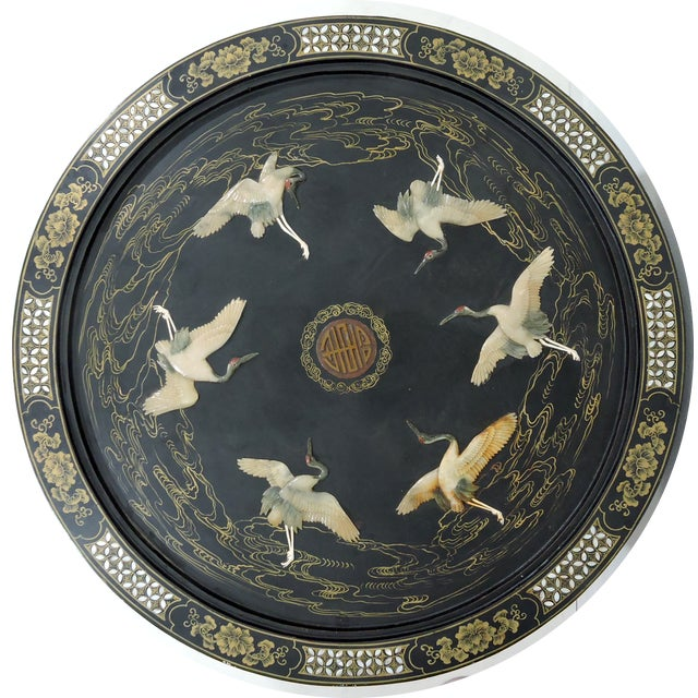 Asian Antique Chinese 'Six Red Crowned Cranes' Folding Black Lacquer and Jade Tianjin Coffee Table For Sale - Image 3 of 8