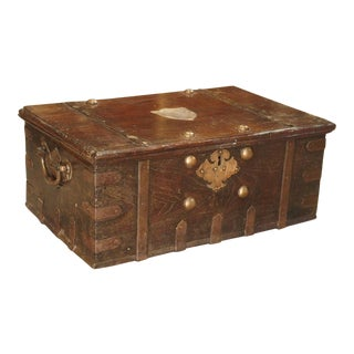 19th Century British Colonial Iron Mounted Mahogany Trunk For Sale