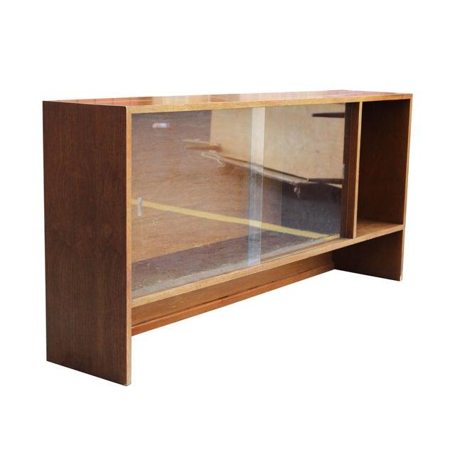 Mid-Century Modern Walnut Bookshelf with Sliding Glass Doors For Sale - Image 3 of 6