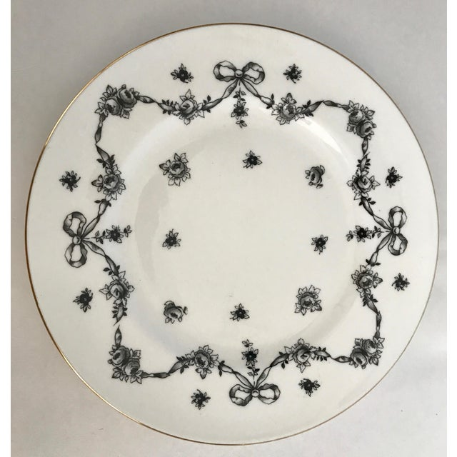 Antique Royal Victoria Black & White Floral Plate - Image 2 of 6