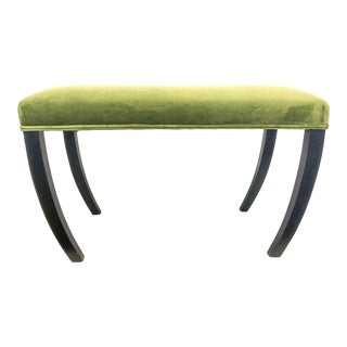 Belgian Green Velvet Bench For Sale
