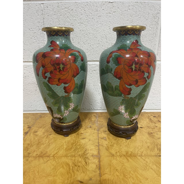 """Cloisonné """"Jingfa"""" Chines Hand Made Brass Enamel Cases on Stands - a Pair For Sale - Image 11 of 11"""