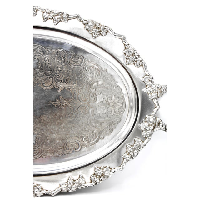 Mid-Century Silver Plate Handled Serving Tray For Sale - Image 6 of 13