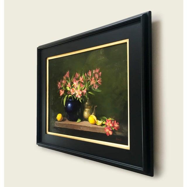 Alstroemeria, Lemons & Silver Teapot Oil Painting - Image 6 of 7