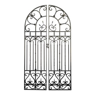 """Spanish Style Wrought Iron Double Swing Garden Gates 90"""" Tall For Sale"""