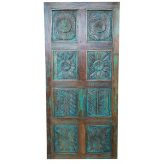 1920s Antique Hand Carved Teal Blue Design Barn Door For Sale