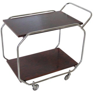 Bauhaus Art Deco Modernist Rolling Bar Cart Chrome and Rosewood
