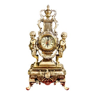 Reproduction Baroque Quartz Gold Cherub Battery Operated Mantle Clock For Sale