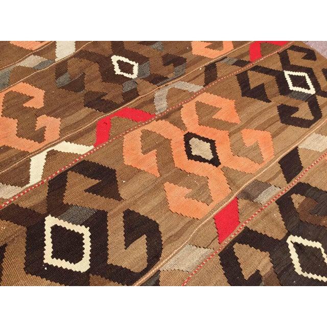 Orange Vintage Brown Turkish Kilim Rug For Sale - Image 8 of 10