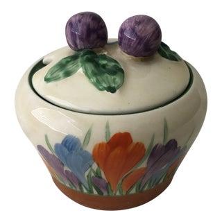 1929 Early Clarice Cliff Bizarre Autumn 'Crocus' Shape 230 Preserve Pot For Sale