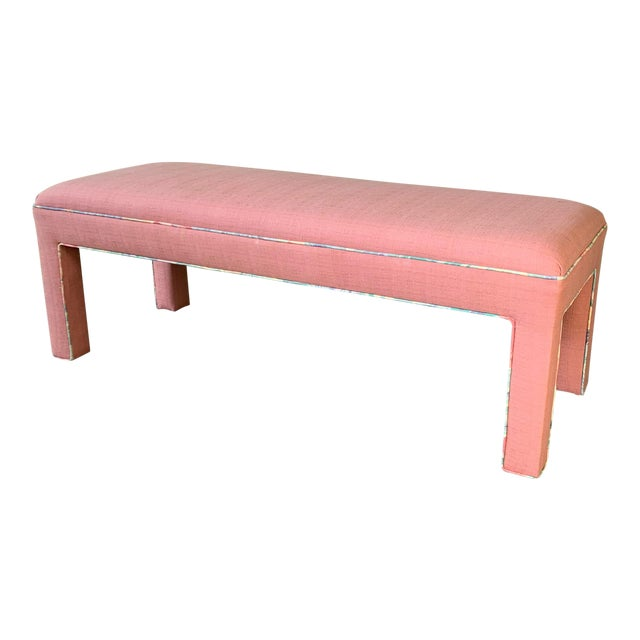 Pink Upholstered Bench Seat Circa 1980s For Sale