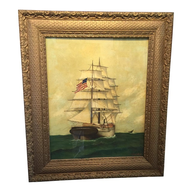 Vintage American Sailboat Painting - Image 1 of 8