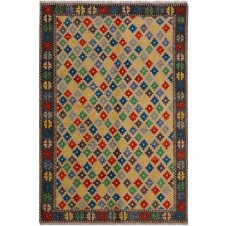 Balouchi Annamari Ivory/Dark Gray Wool Rug - 4'10 X 6'6 For Sale