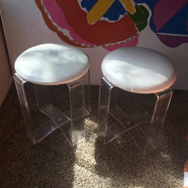 Textile Mid-Century Modern Lucite Vanity Stools- a Pair For Sale - Image 7 of 13