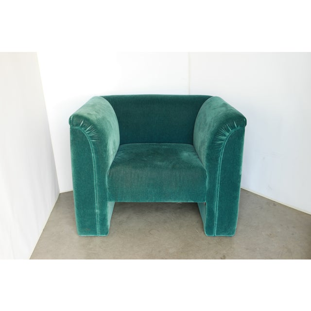 Art Deco Vintage Blue- Green Mohair Club Chairs - a Pair For Sale - Image 3 of 12
