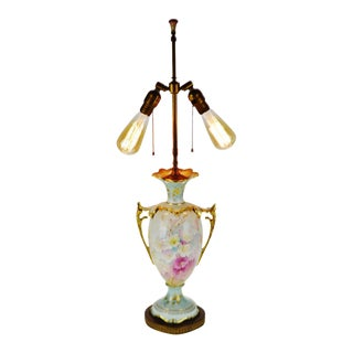 Antique Hand Painted Ceramic Dual Articulating Socket Table Lamp For Sale