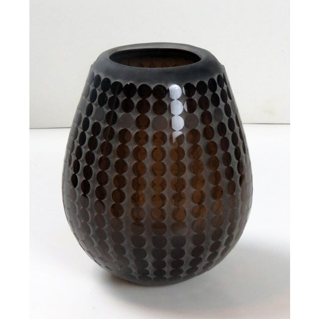 Chocolate 1985 Signed R. L. Gardner Studio Glass Circular Vase For Sale - Image 8 of 8
