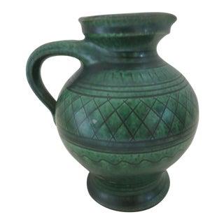 WKP/Wilheim Kagel Art Pottery Emerald Green Handled Jug For Sale