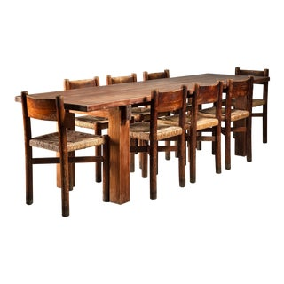 Charlotte Perriand Brasil Table with a Set of Eight Courchevel Chairs, France For Sale