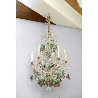 Italian Maria Theresa Six-Light Chandelier Adorned With Amethyst Glass Pears Preview