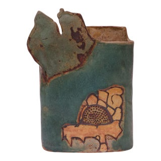 1976 Studio Stoneware Teal and Ochre Floral Vase Signed Pollack For Sale