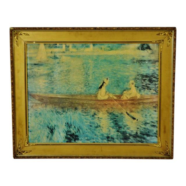 """Vintage Gold Gilt Framed Renoir """"Boating on the Seine"""" Print on Board For Sale"""