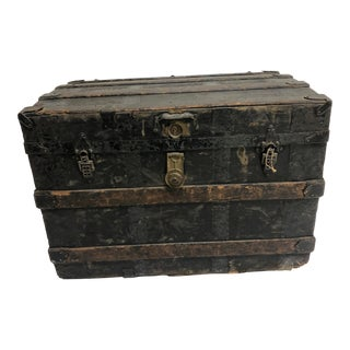 Vintage Industrial Steamer Trunk With Tray For Sale