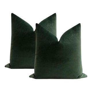"22"" Emerald Contemporary Velvet Pillows - a Pair For Sale"