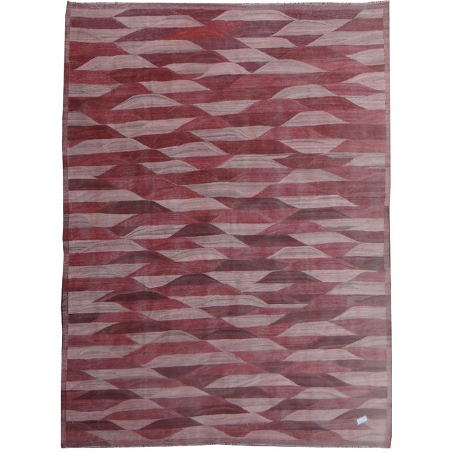 "Modern Hand Knotted Modern Kilim - 13'3"" x 9'11"" For Sale - Image 3 of 3"