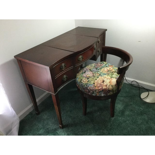 1960s Drexel 1960s Vintage Dressing Table and Stool For Sale - Image 5 of 12