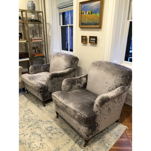 These dramatic and extremely comfortable plush chairs have been covered in highly durable (100k) rub velvet. Newly...