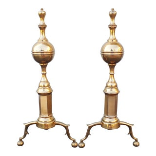 Early 20th Century Rose Brass Andirons - a Pair For Sale