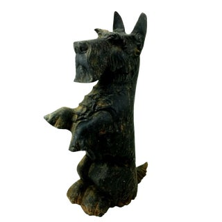 Vintage Cast Iron Scottie Dog Terrier Door Stop Andiron For Sale