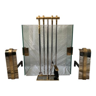 Art Deco Custom Fireplace Set Polished Brass Nickel - 8 Pieces For Sale