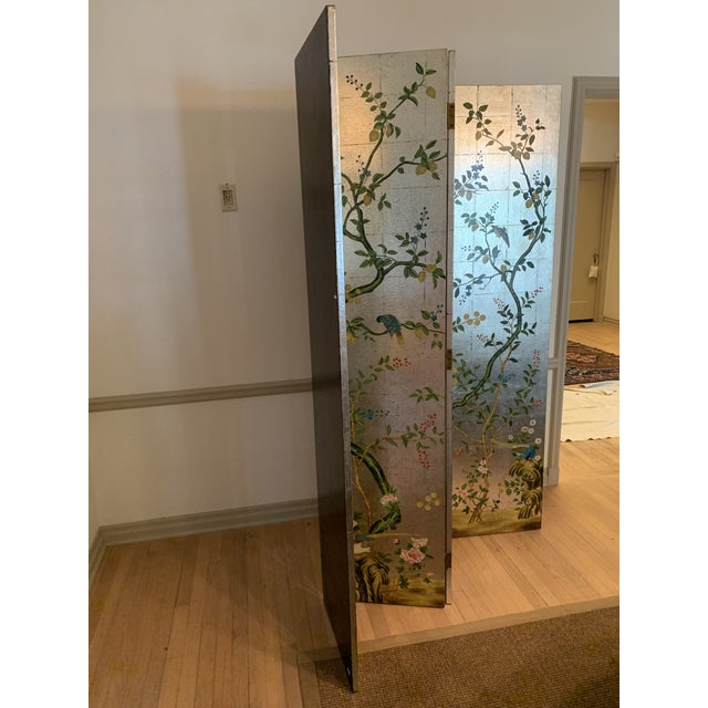 Gracie Chinoiserie Decorative Crafts Hand Painted Silver Screen For Sale - Image 4 of 10