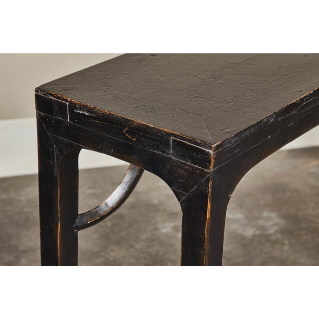 Black 18th C. Ming Black Crackled Lacquer Console Table For Sale - Image 8 of 10