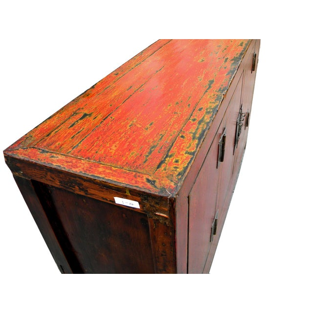 1950s Asian Modern Red Dongbei Wedding Cabinet For Sale - Image 4 of 7