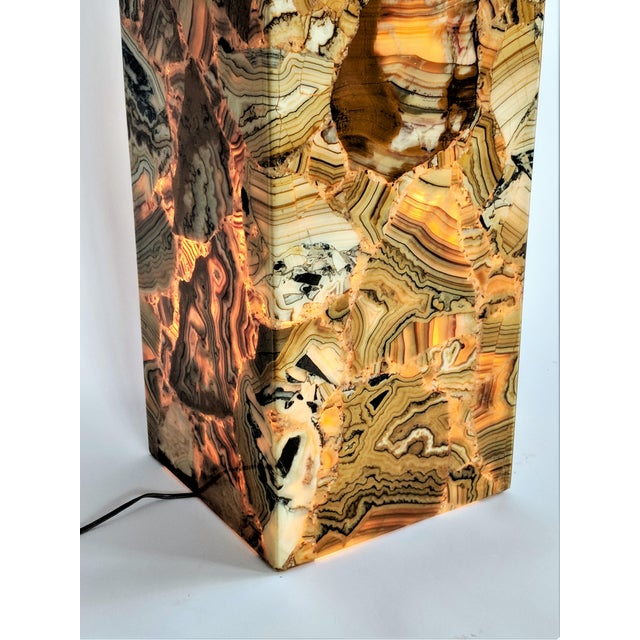1970s Muller of Mexico Modern Lighted Onyx Pedestal For Sale - Image 9 of 11
