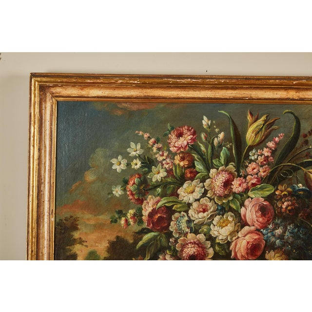 Pair of 19th Century Italian School Still Life Large Oil-On-Canvas Painting within a Giltwood Frame For Sale In Los Angeles - Image 6 of 10