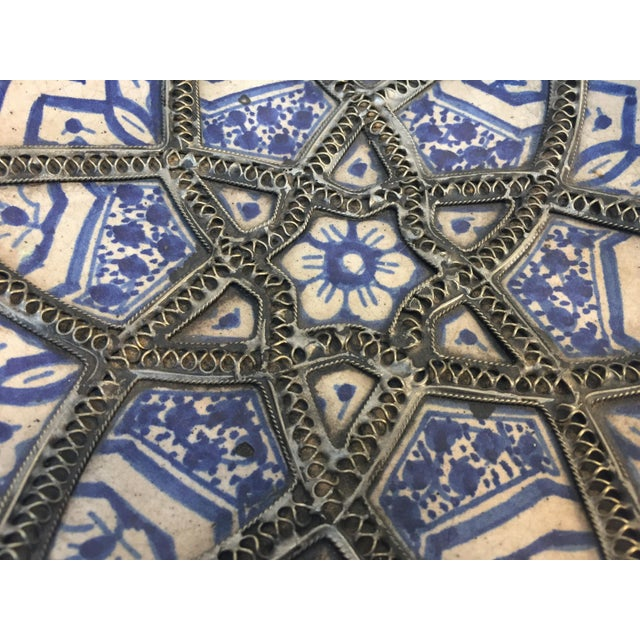 Decorative Moroccan Blue and White Handcrafted Ceramic Bowl From Fez For Sale - Image 11 of 12