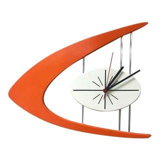 Mid Century Inspired Atomic Starburst Boomerang Quartz Clock For Sale