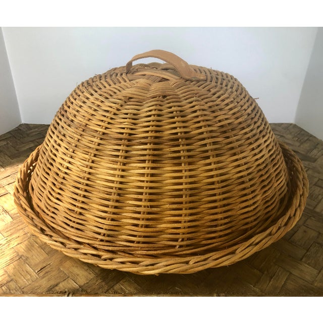 Shabby Chic Large French Cloche Cheese Bell in Natural Woven Wicker Rattan With Leather Handle For Sale - Image 3 of 13