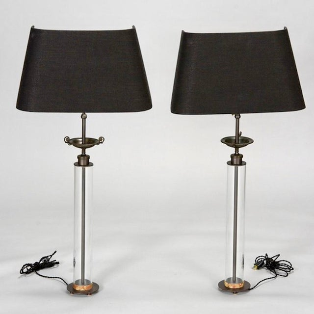 A Belgian artist created this pair of lamps using antique bronze tazza and clear glass columns, c1940. Topped with...