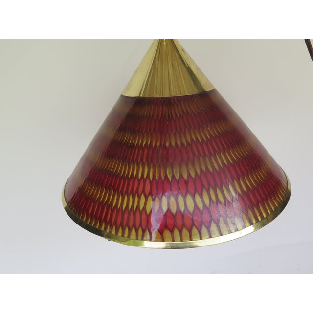 1960s 1960s Vintage Lucite and Brass Pendant Light For Sale - Image 5 of 6