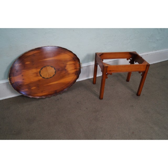 English Yew Wood Inlaid Tray Top Coffee Table - Image 9 of 10