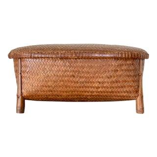 Vintage Long Asian Basket With Lid For Sale