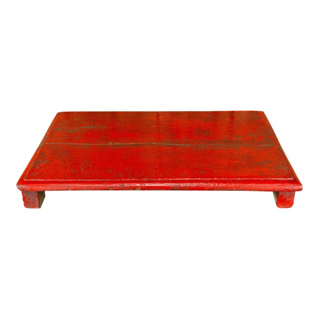 Rasila Red Wooden Bajot Table For Sale