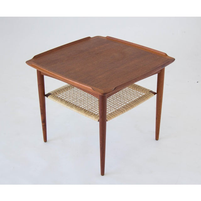Poul Jensen for Selig Square Side Table With Cane Shelf For Sale - Image 5 of 8