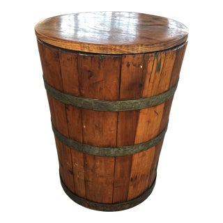 Antique Usa Country General Store Wood Pickle Barrel Keg Wine Bar Still Table For Sale